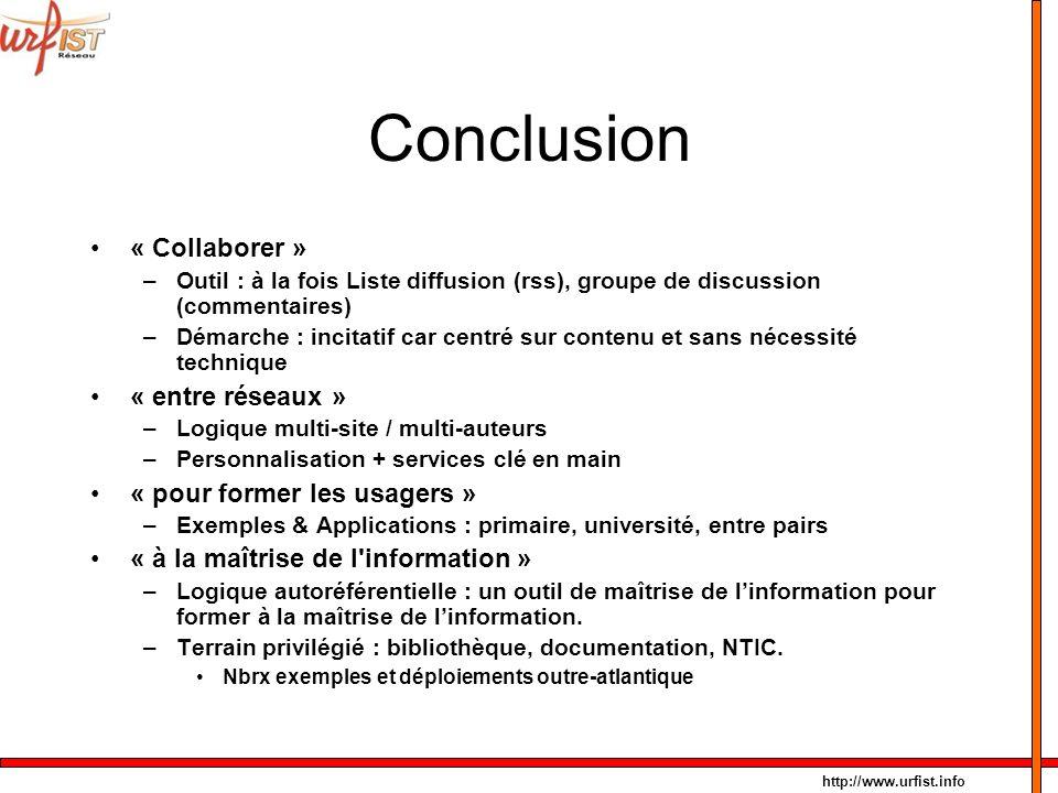Conclusion « Collaborer » « entre réseaux »