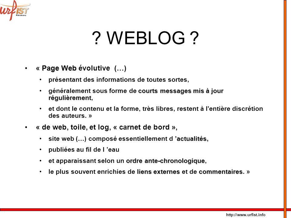 WEBLOG « Page Web évolutive (…)