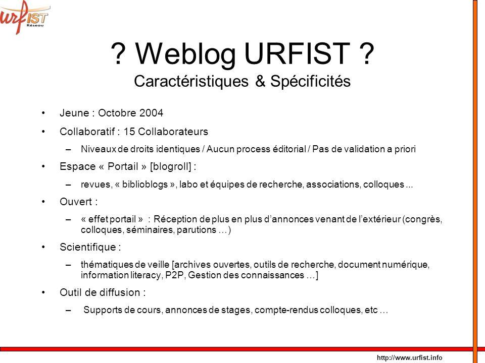 Weblog URFIST Caractéristiques & Spécificités