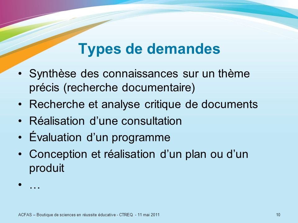 Types de demandesSynthèse des connaissances sur un thème précis (recherche documentaire) Recherche et analyse critique de documents.