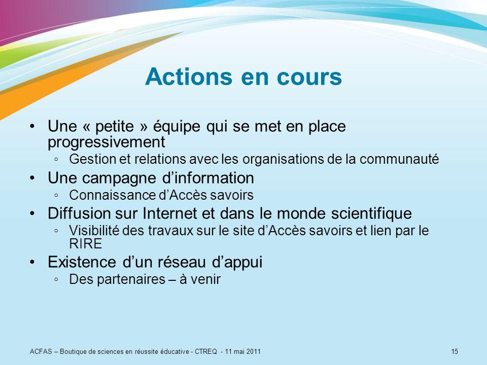 Actions en coursUne « petite » équipe qui se met en place progressivement. Gestion et relations avec les organisations de la communauté.