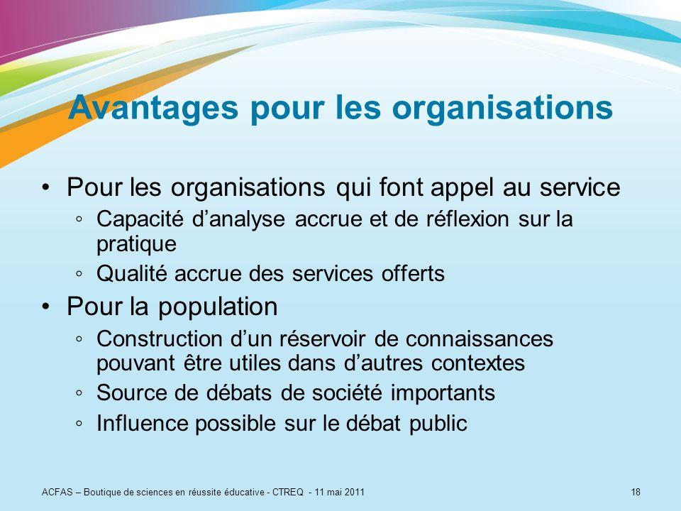 Avantages pour les organisations