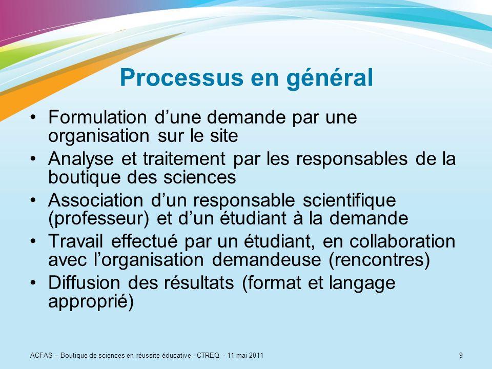 Processus en général Formulation d'une demande par une organisation sur le site.