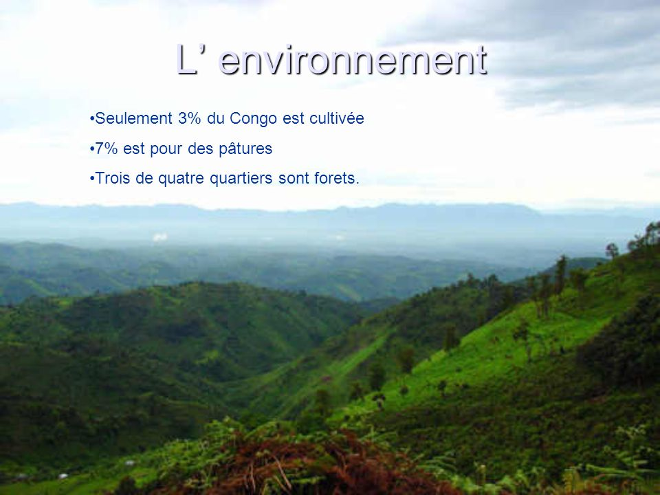 L' environnement Seulement 3% du Congo est cultivée