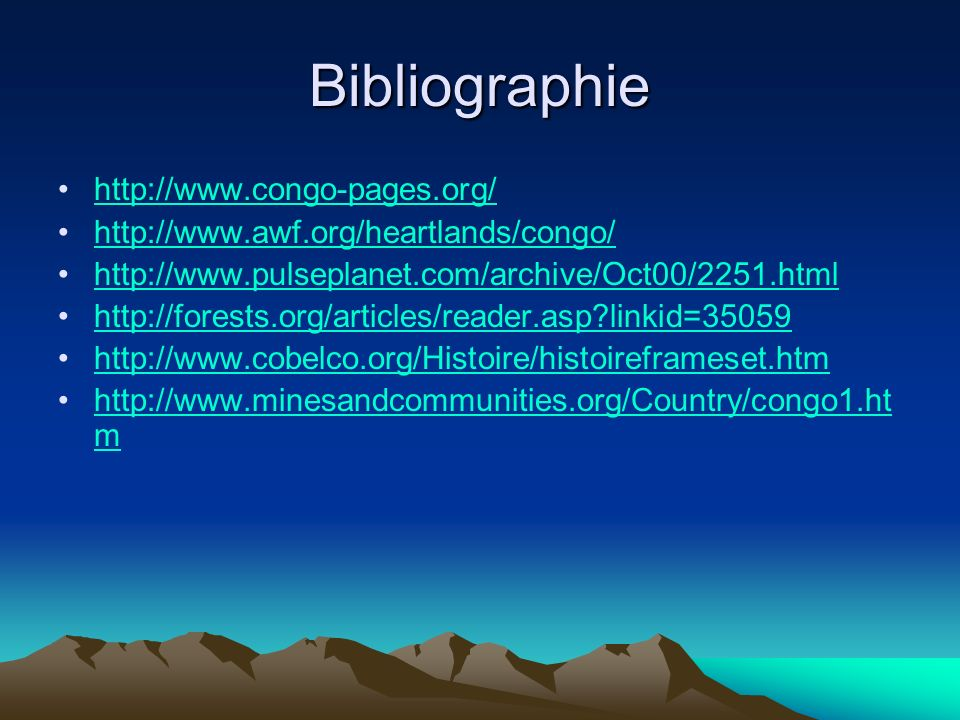 Bibliographie http://www.congo-pages.org/