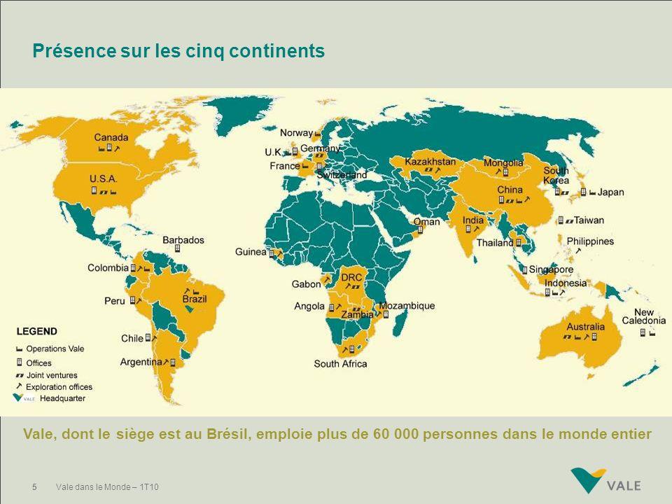 Présence sur les cinq continents