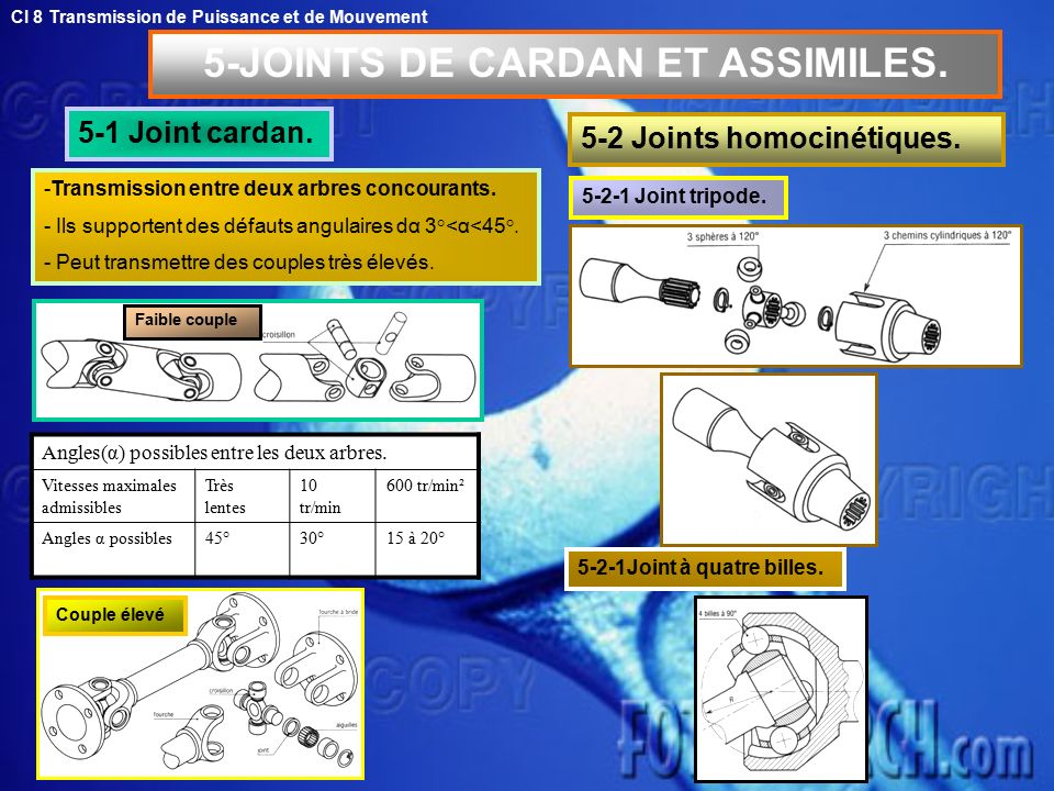 5-JOINTS DE CARDAN ET ASSIMILES.