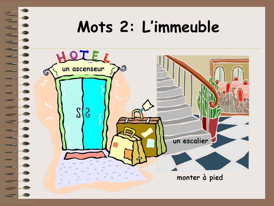 Mots 2: L'immeuble un ascenseur un escalier monter à pied