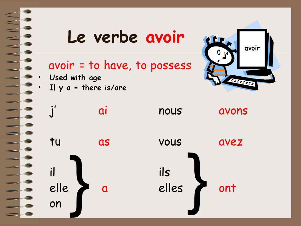 } } Le verbe avoir avoir = to have, to possess j' ai nous avons