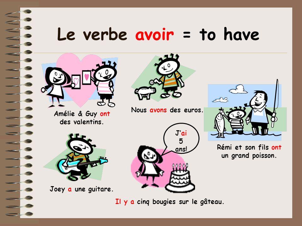 Le verbe avoir = to have Nous avons des euros.