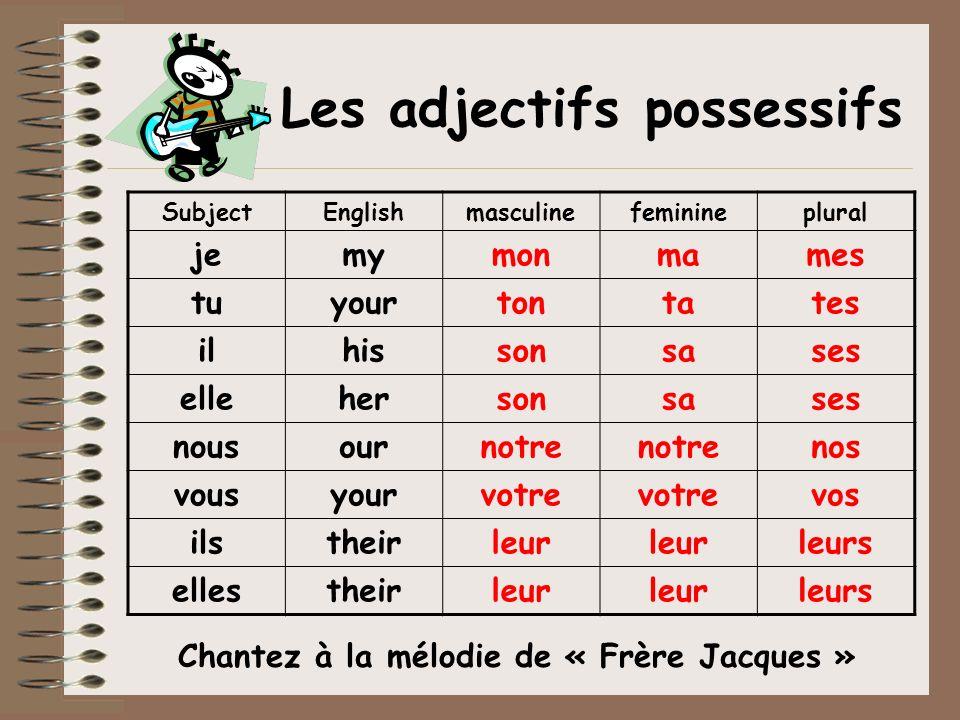 Les adjectifs possessifs Chantez à la mélodie de « Frère Jacques »