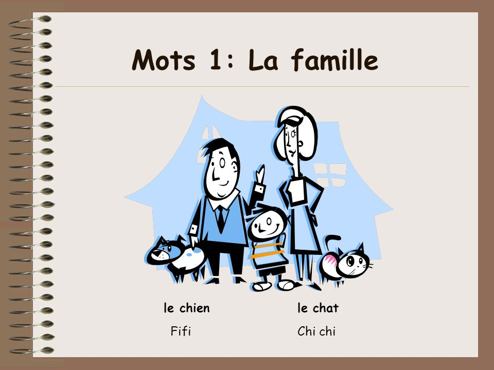 Mots 1: La famille le chien le chat Fifi Chi chi