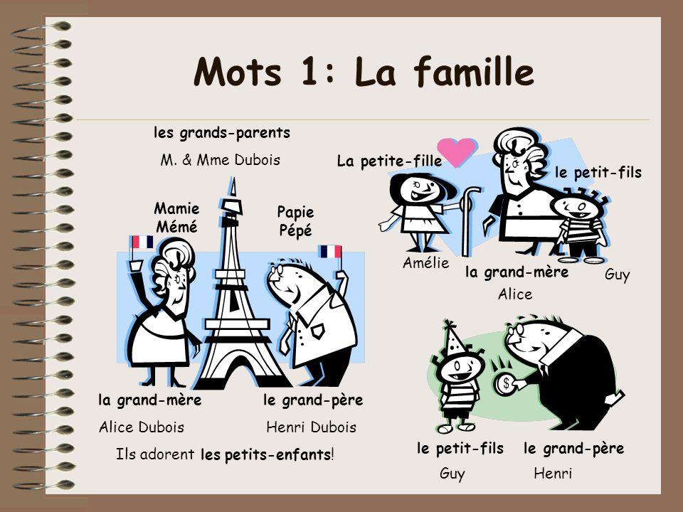 Mots 1: La famille les grands-parents M. & Mme Dubois La petite-fille