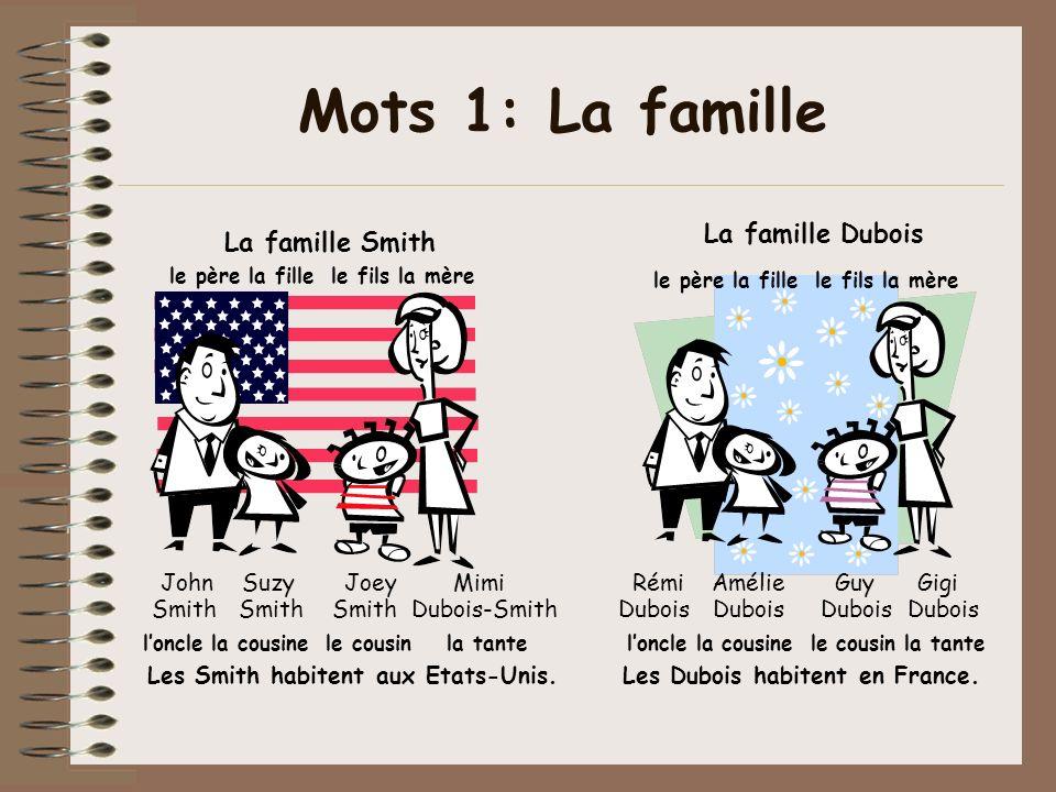Les Smith habitent aux Etats-Unis. Les Dubois habitent en France.