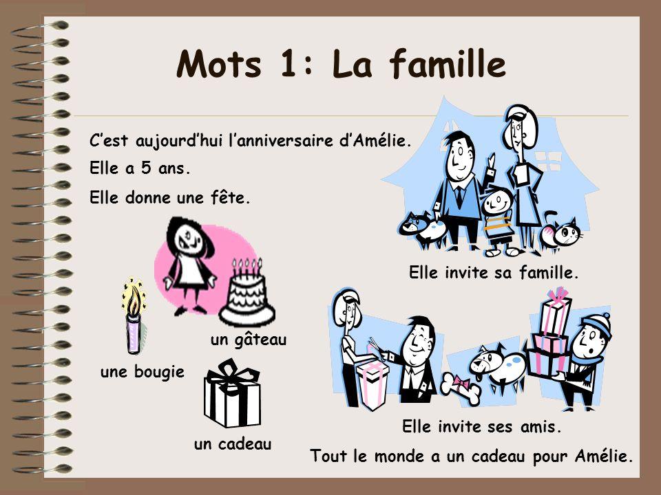 Mots 1: La famille C'est aujourd'hui l'anniversaire d'Amélie.