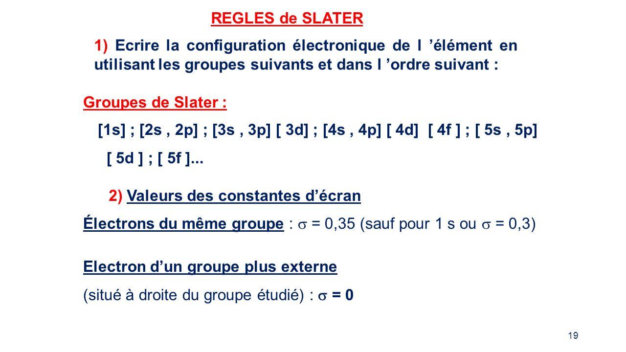 REGLES de SLATER 1) Ecrire la configuration électronique de l 'élément en utilisant les groupes suivants et dans l 'ordre suivant :