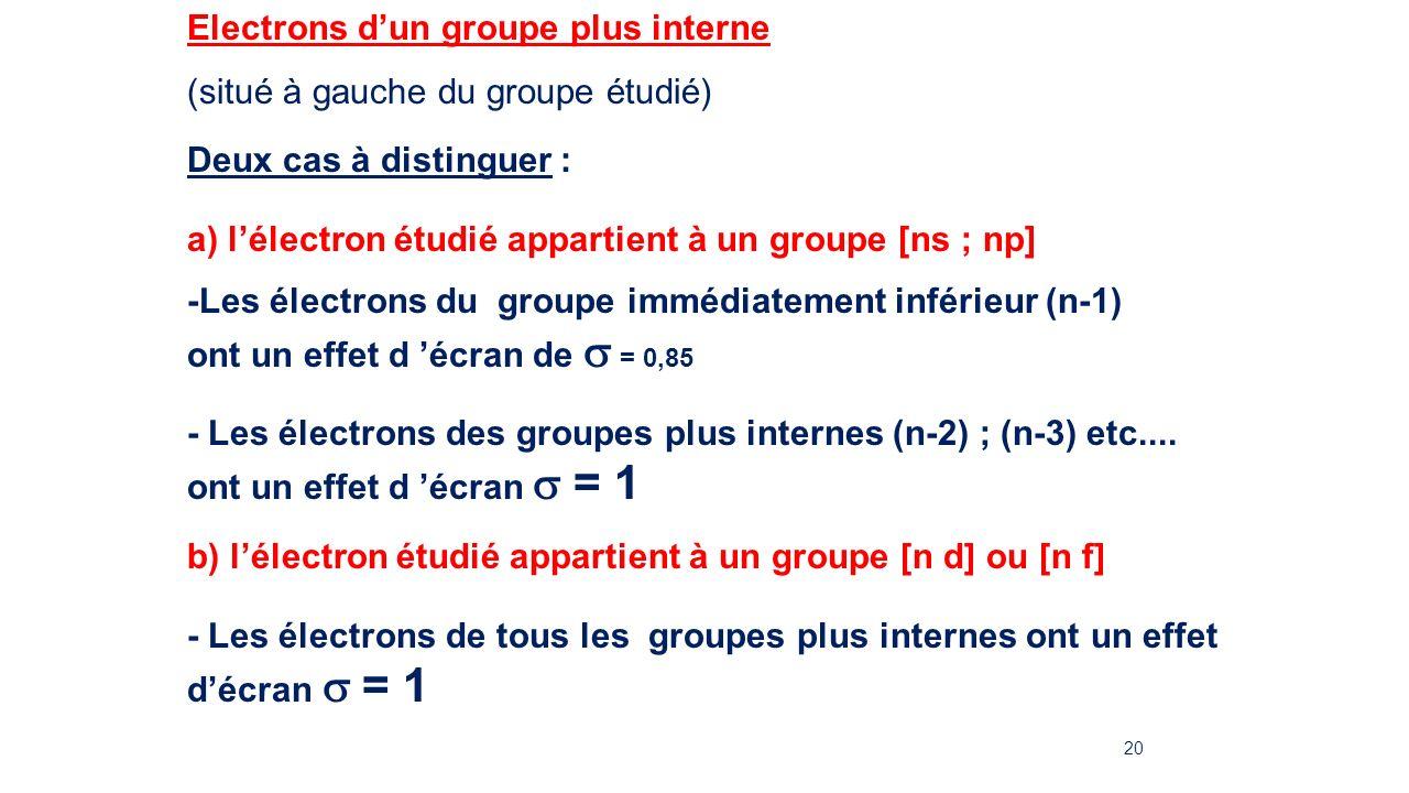 Electrons d'un groupe plus interne
