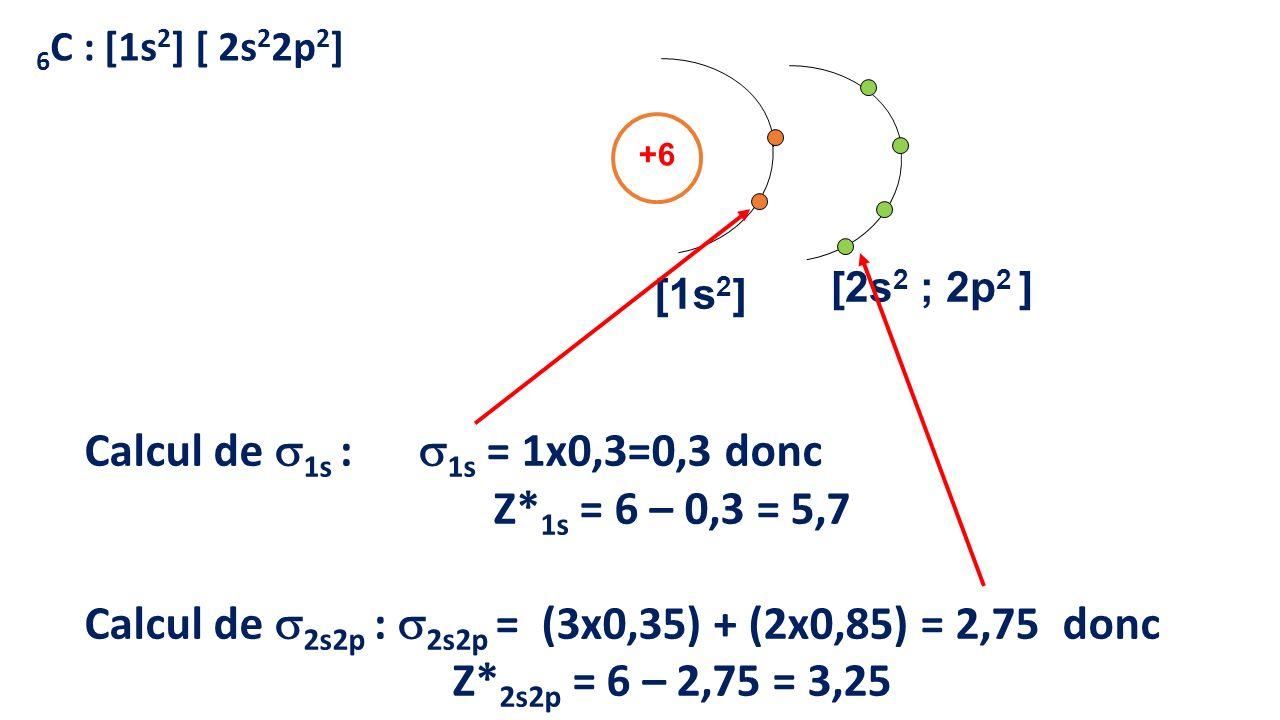 Calcul de 1s : 1s = 1x0,3=0,3 donc Z*1s = 6 – 0,3 = 5,7