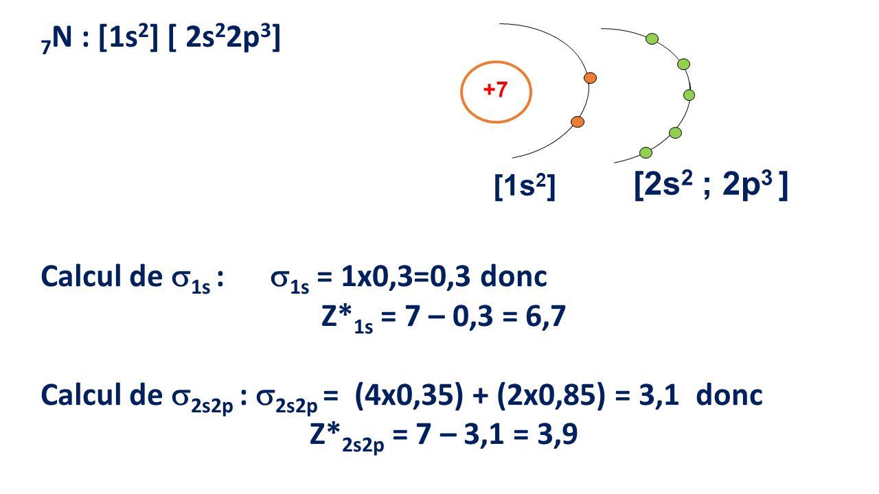 Calcul de 1s : 1s = 1x0,3=0,3 donc Z*1s = 7 – 0,3 = 6,7