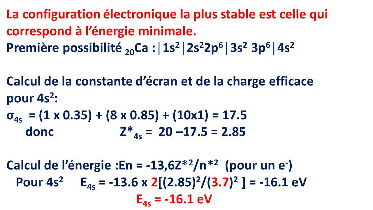 La configuration électronique la plus stable est celle qui correspond à l'énergie minimale.