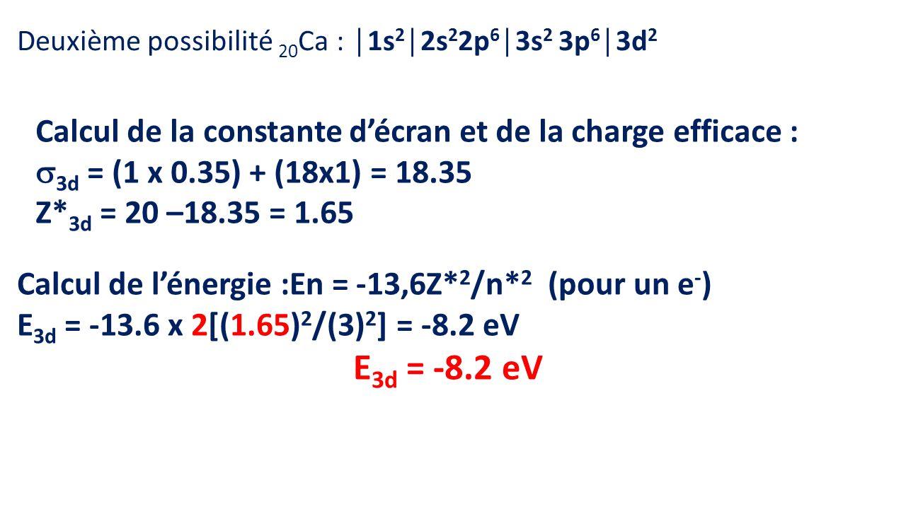 Deuxième possibilité 20Ca : │1s2│2s22p6│3s2 3p6│3d2