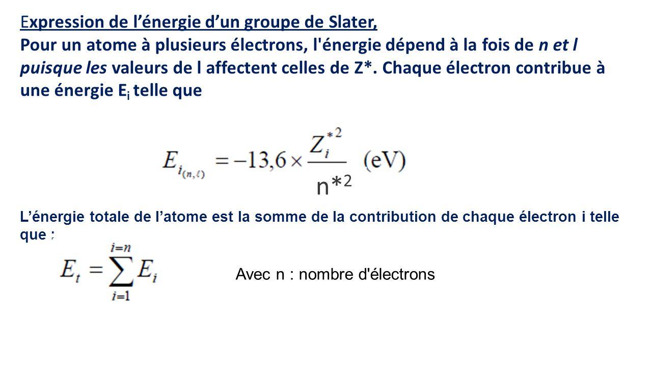 n*2 Expression de l'énergie d'un groupe de Slater,