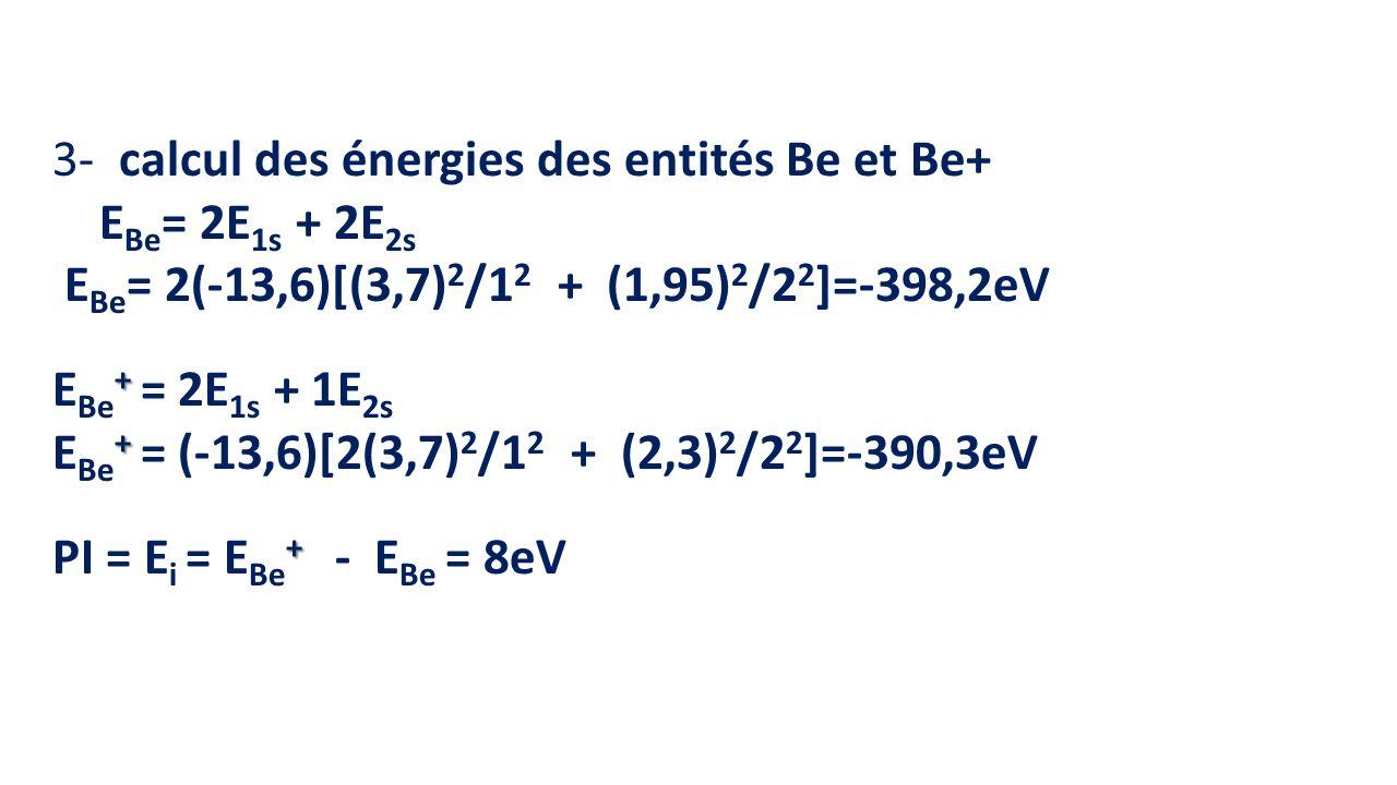 3- calcul des énergies des entités Be et Be+