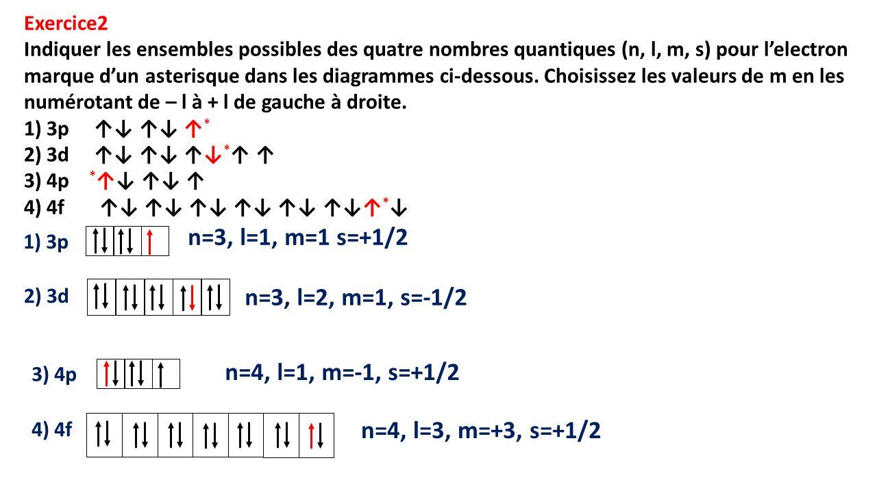 n=3, l=1, m=1 s=+1/2 n=3, l=2, m=1, s=-1/2 n=4, l=1, m=-1, s=+1/2