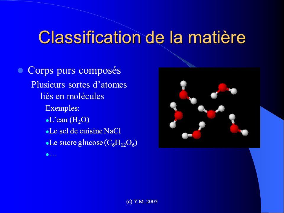 Classification de la matière