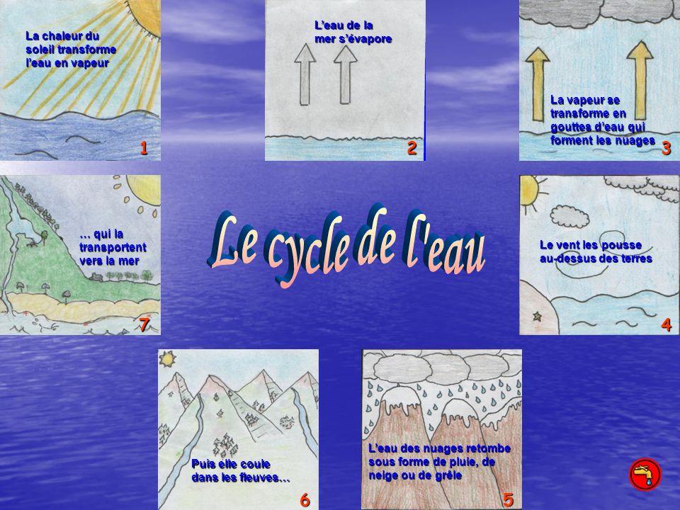 Le cycle de l eau 1 2 3 7 4 6 5 L'eau de la mer s'évapore