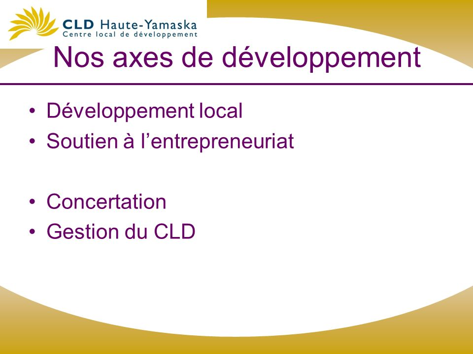 Nos axes de développement