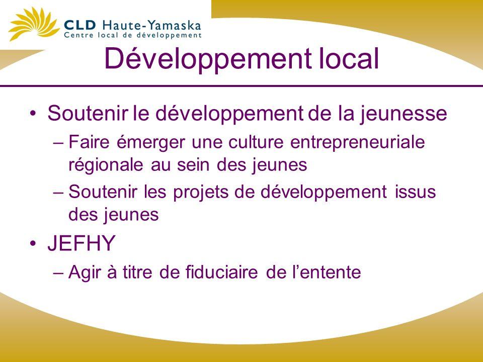 Développement local Soutenir le développement de la jeunesse JEFHY
