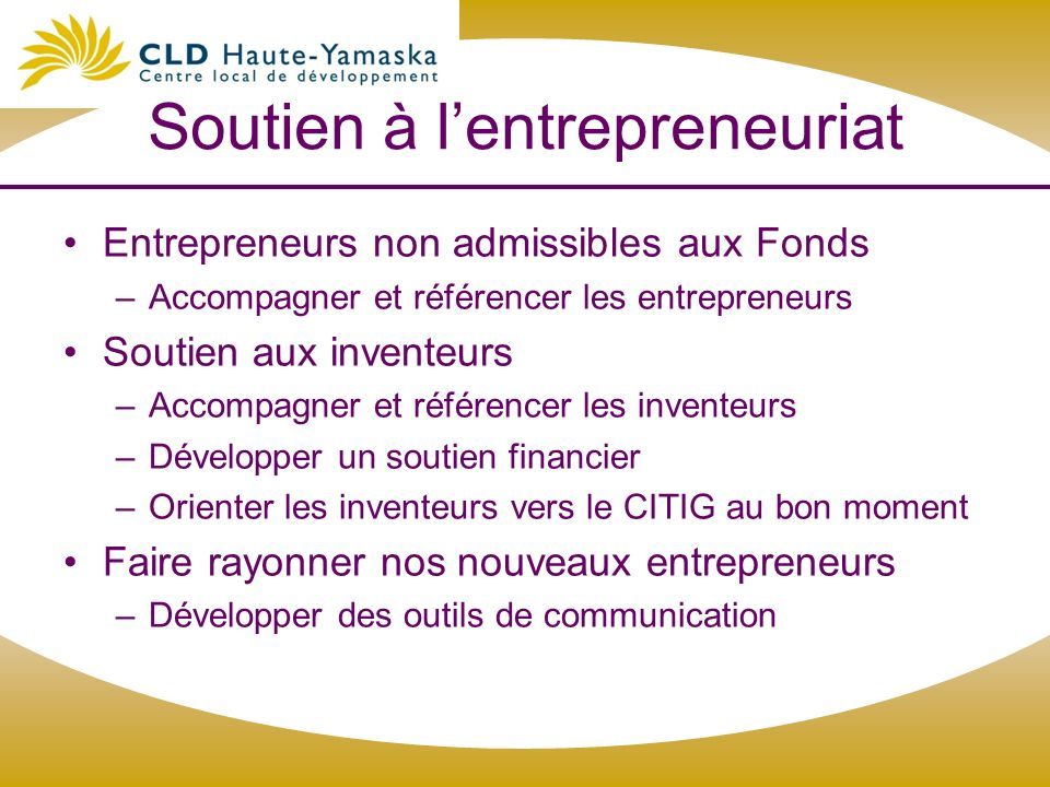 Soutien à l'entrepreneuriat