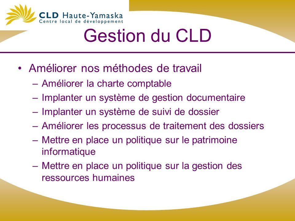 Gestion du CLD Améliorer nos méthodes de travail