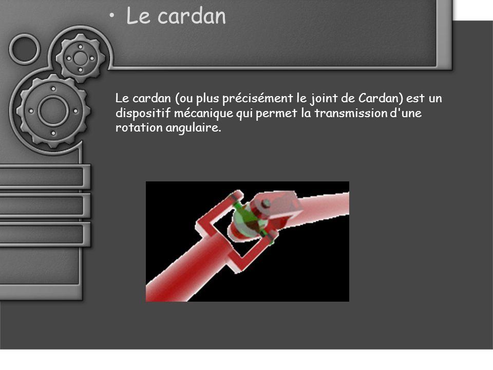 Le cardan Le cardan (ou plus précisément le joint de Cardan) est un dispositif mécanique qui permet la transmission d une rotation angulaire.