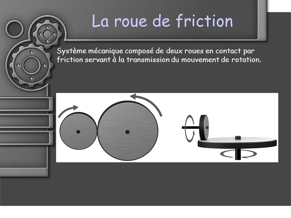 La roue de friction Système mécanique composé de deux roues en contact par friction servant à la transmission du mouvement de rotation.