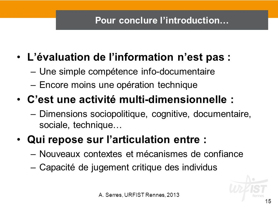 Pour conclure l'introduction…
