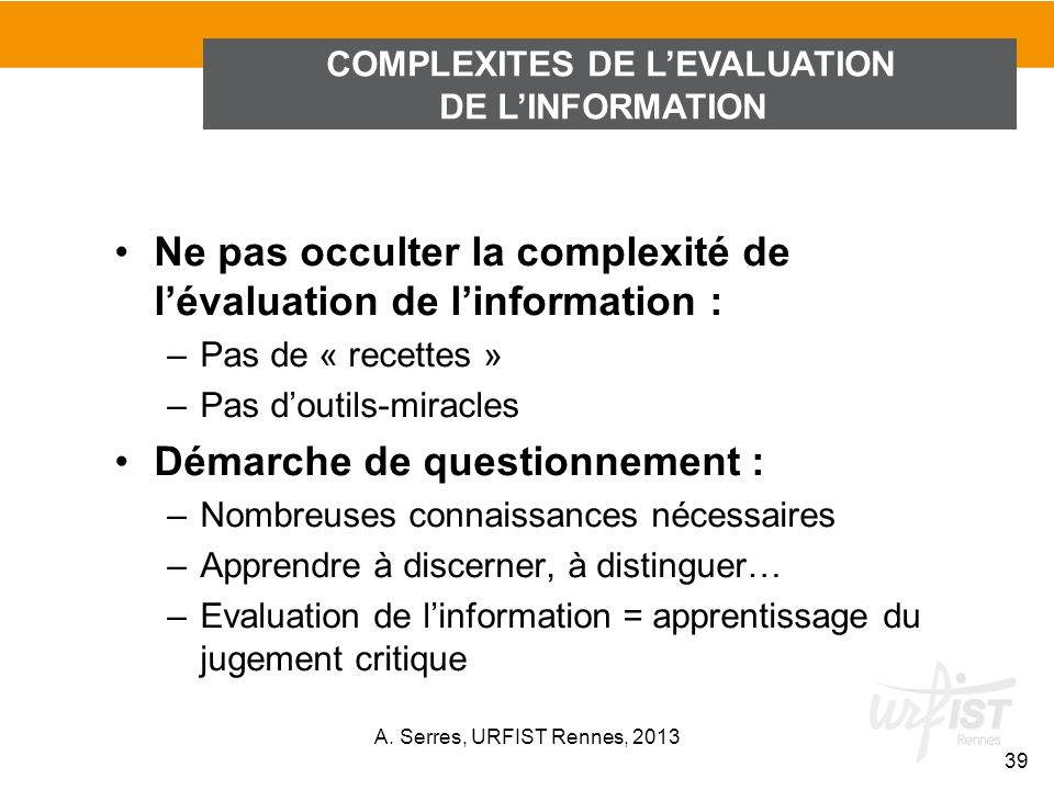 COMPLEXITES DE L'EVALUATION