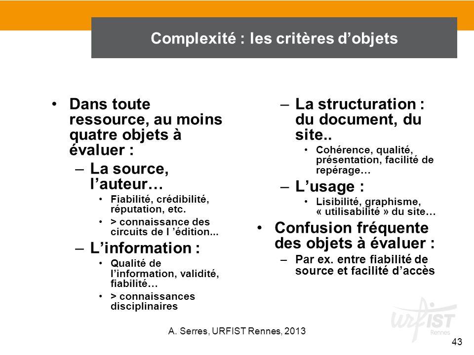 Complexité : les critères d'objets