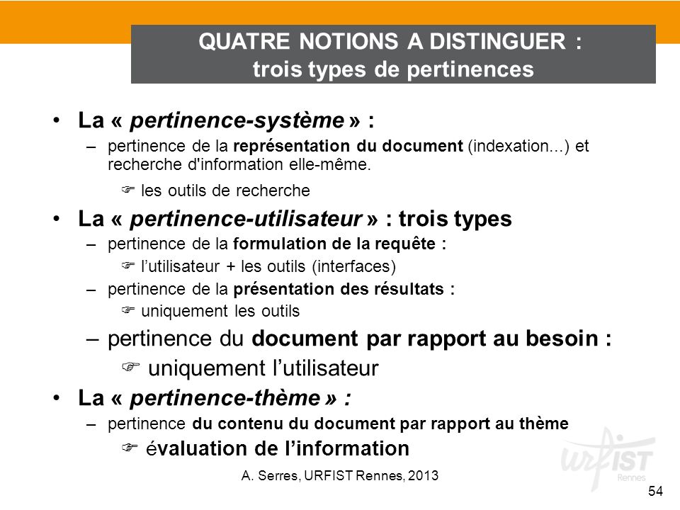 QUATRE NOTIONS A DISTINGUER : trois types de pertinences