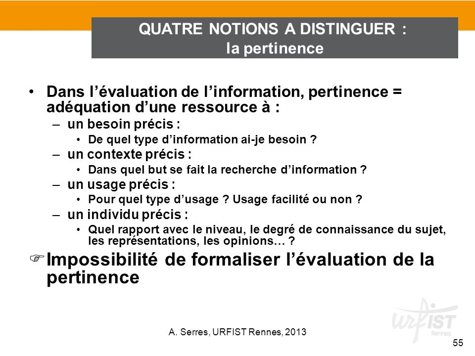 QUATRE NOTIONS A DISTINGUER :