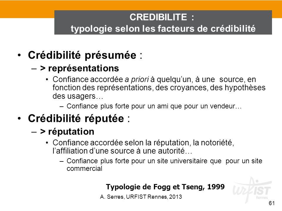 typologie selon les facteurs de crédibilité
