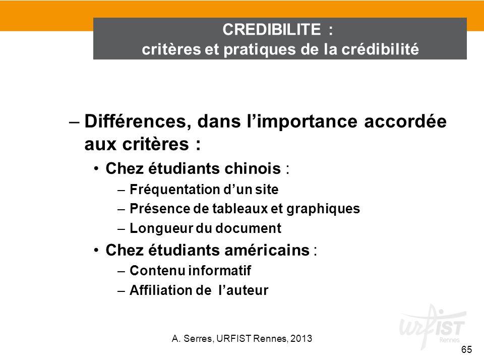 critères et pratiques de la crédibilité