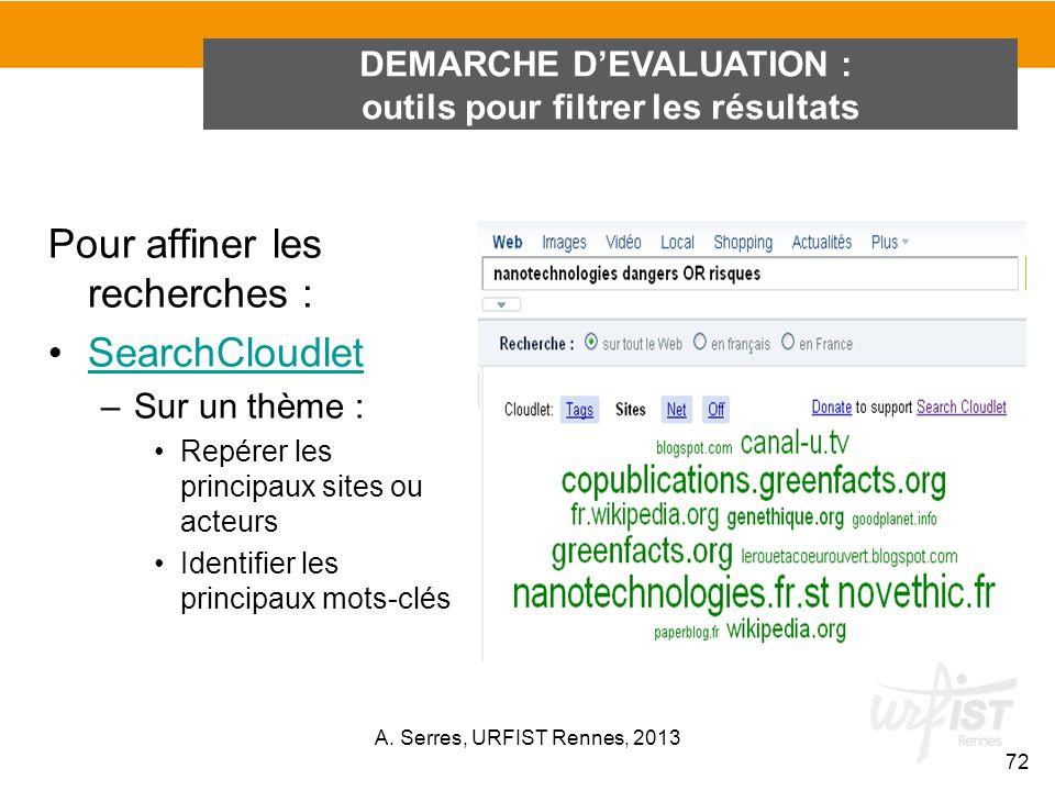 DEMARCHE D'EVALUATION : outils pour filtrer les résultats