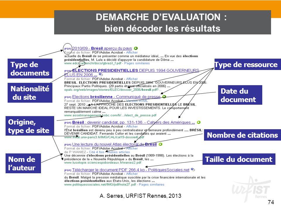 DEMARCHE D'EVALUATION : bien décoder les résultats