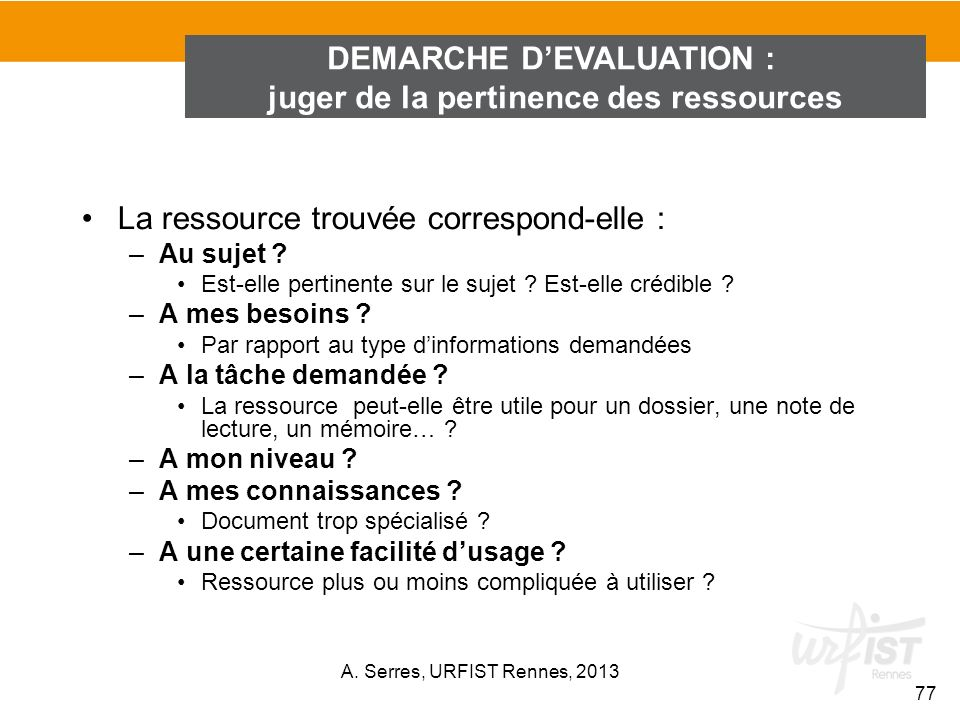 DEMARCHE D'EVALUATION : juger de la pertinence des ressources