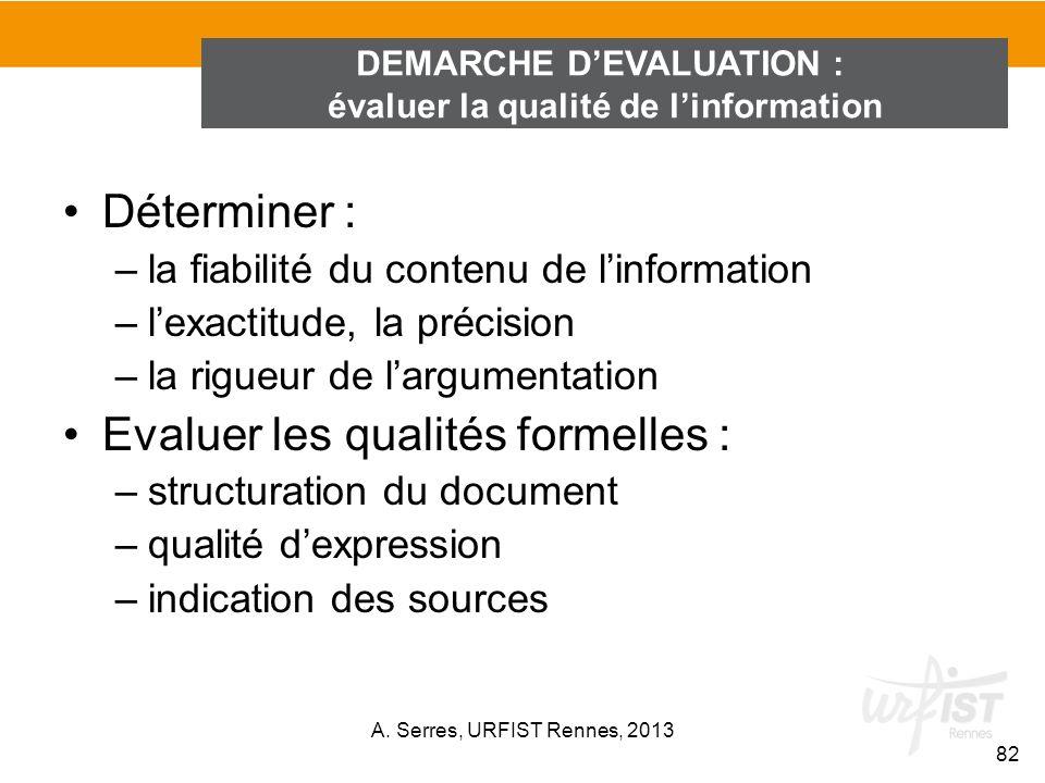 DEMARCHE D'EVALUATION : évaluer la qualité de l'information