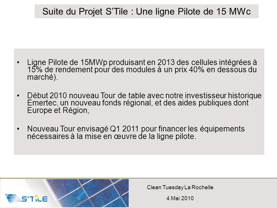 Suite du Projet S'Tile : Une ligne Pilote de 15 MWc