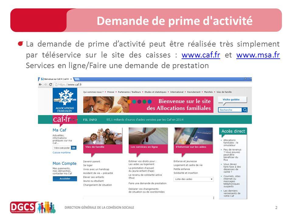 Caf Demande En Ligne Prime D Activit Ef Bf Bd