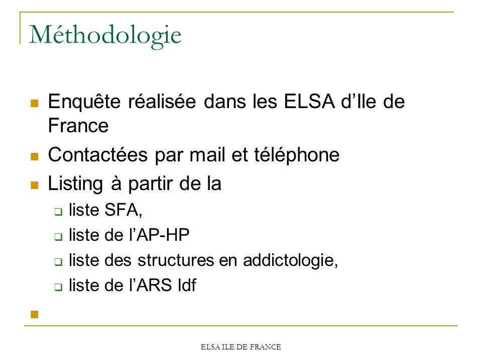Méthodologie Enquête réalisée dans les ELSA d'Ile de France
